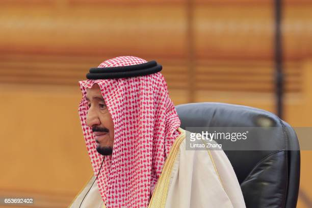 Saudi Arabia's King Salman bin Abdulaziz Al Saud during his meeting with Chinese President Xi Jinping at the Great Hall of the People on March 16...