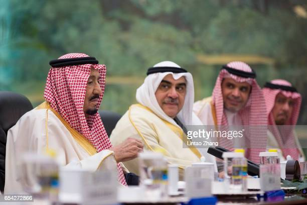 Saudi Arabia's King Salman bin Abdulaziz Al Saud meets with Chinese Premier Li Keqiang at Great Hall of the People on March 17 2017 in Beijing China...