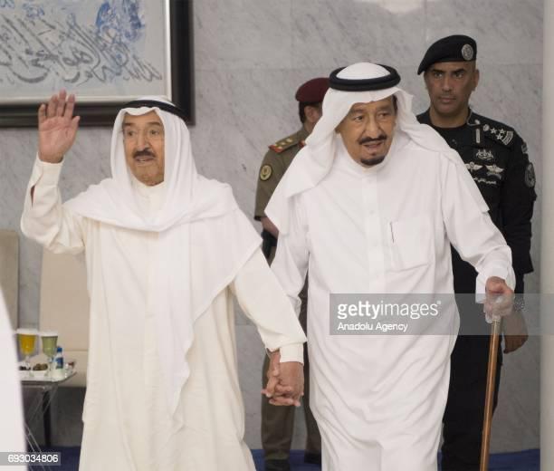 Saudi Arabia's King Salman bin Abdulaziz Al Saud meets with Kuwaiti Emir Sheikh Jaber al-Ahmad al-Sabah in Jeddah, Saudi Arabia on June 6, 2017.