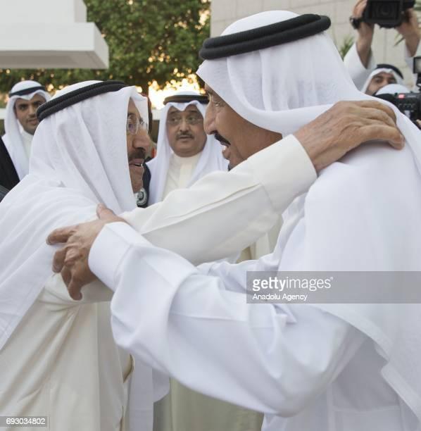 Saudi Arabia's King Salman bin Abdulaziz Al Saud welcomes Kuwaiti Emir Sheikh Jaber alAhmad alSabah in Jeddah Saudi Arabia on June 6 2017