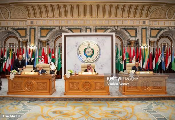 Saudi Arabia's King Salman bin Abdulaziz alSaud Tunisian President Beji Caid Essebsi and Arab League SecretaryGeneral Ahmed Aboul Gheit attend an...