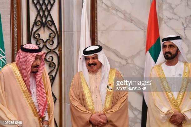Saudi Arabia's King Salman bin Abdulaziz Bahrain's King Hamad AlKhalifa and Vice President and Prime Minister of the United Arab Emirates Sheikh...