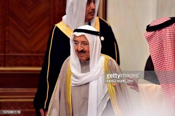 Saudi Arabia's King Salman bin Abdulaziz welcomes Kuwait's Emir Sheikh Sabah alAhmad alSabah at the Diriya Palace in the Saudi capital Riyadh during...