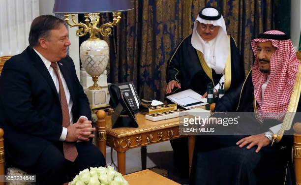 Saudi Arabia's King Salman meets with US Secretary of State Mike Pompeo in Riyadh on October 16 2018 Pompeo arrived in the Saudi capital for talks...