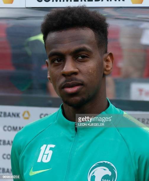 Saudi Arabia's midfielder Abdullah AlKhaibari is pictured prior to the international friendly football match between Germany and Saudi Arabia at the...