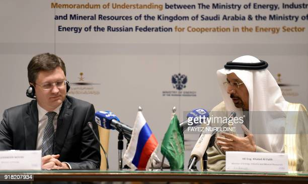 Saudi Arabia's Minister of Energy Industry and Mineral Resources Khalid AlFalih speaks during a press conference with his Russian counterpart...