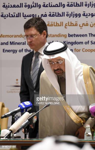 Saudi Arabia's Minister of Energy Industry and Mineral Resources Khalid AlFalih arrives for a press conference with his Russian counterpart Alexander...