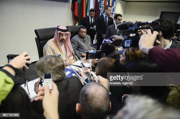Saudi Arabia's Minister of Energy Industry and Mineral Resources Khalid AlFalih and Secretary General of OPEC Mohammed Barkindo speak to media during...