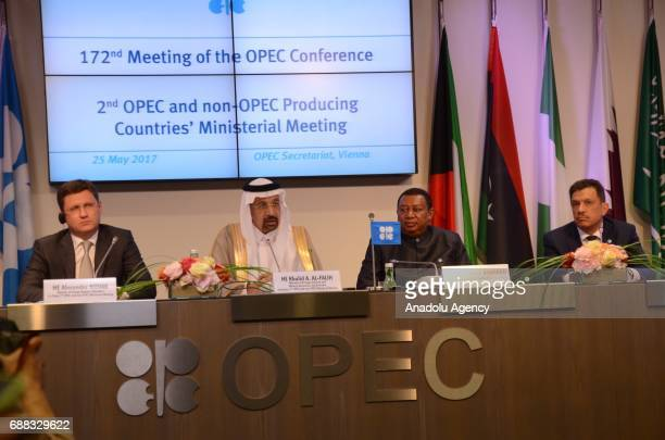 Saudi Arabia's Minister of Energy Industry and Mineral Resources Khalid AlFalih Russia's Energy Minister Alexander Novak and Secretary General of The...
