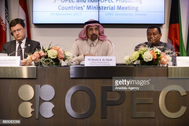 Saudi Arabia's Minister of Energy Industry and Mineral Resources Khalid AlFalih Russia Energy Minister Alexander Novak Secretary General of OPEC...