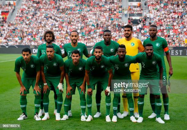 Saudi Arabia's players pose for a team picture prior to the international friendly football match between Germany and Saudi Arabia at the BayArena...