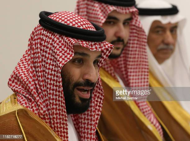 Saudi Arabia's Prince and Defence Minister Mohammad bin Salman al Saud speeches during a bilateral talks at the G20 Osaka Summit 2019 on June 29 2019...