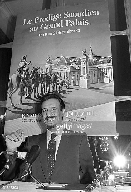 Saudi Arabia's Prince Salman bin Abdul Aziz, Governor of Riyadh Region, addresses media 05 December 1986 in Paris while he presents an exhibition on...
