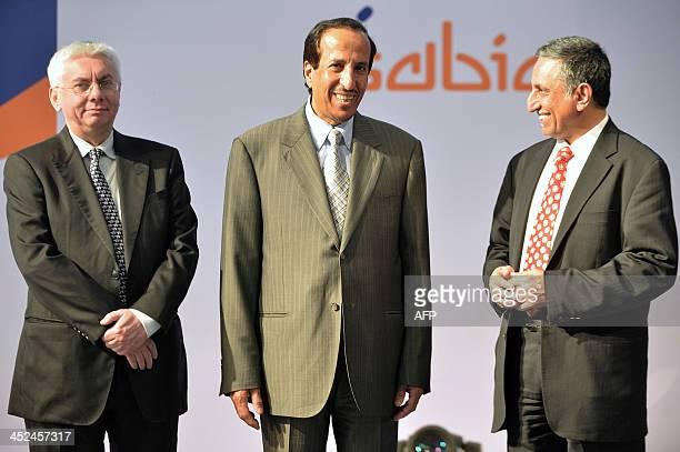 Saudi Arabia's Prince Saud bin Abdullah bin Thenayan AlSaud Chairman of Saudi Basic Industries Corporation poses with Vice Chairman and CEO of SABIC...