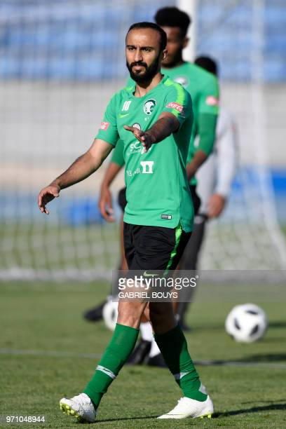 Saudi Arabia's striker Mohammed AlSahlawi attends a training session on June 10 2018 in SaintPetersburg at the Petrovsky stadium ahead of the...