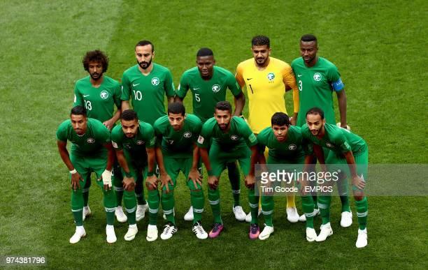 Saudi Arabia's Yasser AlShahrani Saudi Arabia's Mohammad AlSahlawi Saudi Arabia's Omar Hawsawi Saudi Arabia goalkeeper Abdullah AlMayouf and Saudi...