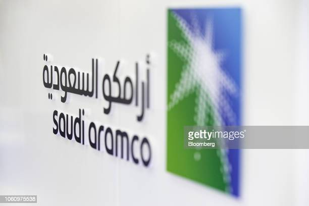 A Saudi Aramco logo sits on display during the Abu Dhabi International Petroleum Exhibition Conference in Abu Dhabi United Arab Emirates on Tuesday...