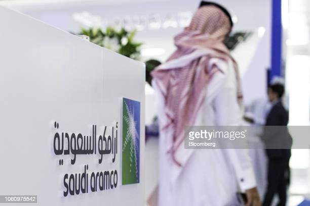 A Saudi Aramco logo sits on display during the Abu Dhabi International Petroleum Exhibition Conference in Abu Dhabi United Arab Emirates on Tuesday...
