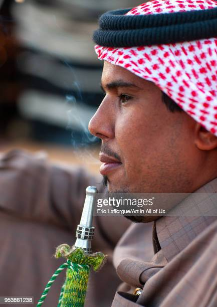 Saudi bedouin smoking shisha AlJawf Province Sakaka Saudi Arabia on January 23 2010 in Sakaka Saudi Arabia