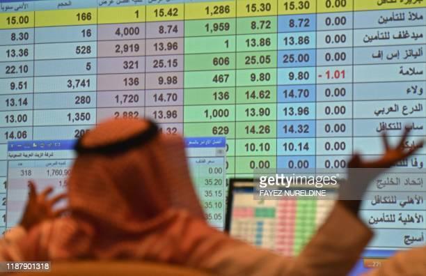 A Saudi broker monitors the stock market at the Arab National Bank in the Saudi capital Riyadh on December 11 2019 Saudi Aramco's shares soared on...