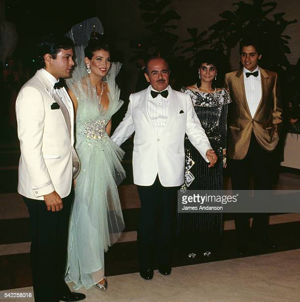 Saudi businessman of Turkish descent Adnan Khashoggi and family attending the 1987 Monaco Red Cross ball