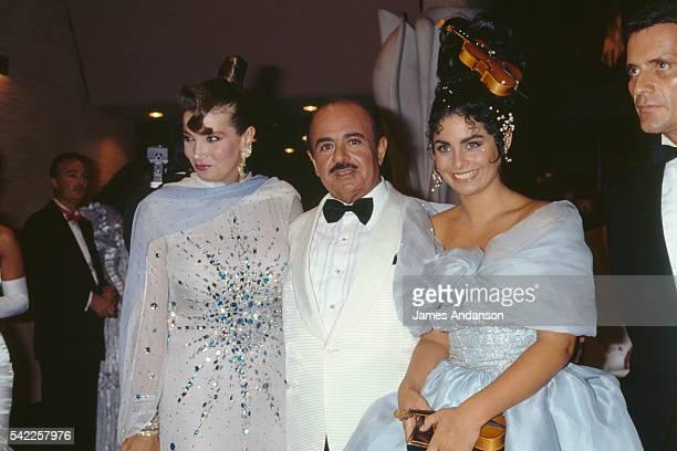 Saudi businessman of Turkish descent Adnan Khashoggi his wife Lamia Khashoggi and one of their daughters Nabila Khashoggi attending the 1988 Monaco...