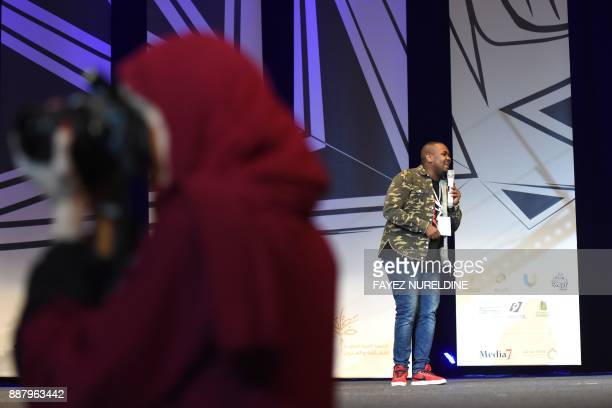 Saudi comedian Abdullah Barqawi performs on stage during the Standup Comedy Festival at the Riyadh's King Fahd Cultural Centre on November 29 2017...