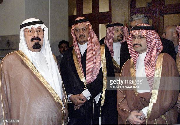 Saudi Crown Prince Abdullah bin Abdul Aziz Saudi Foreign Minister Prince Saud alFaisal and Saudi billionaire Prince alWalid bin Talal wait for their...