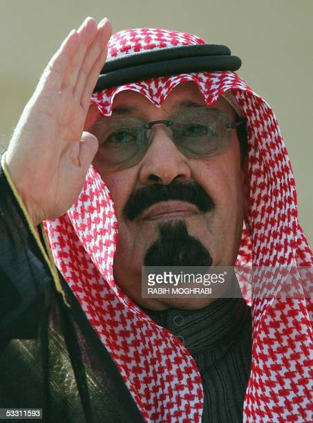 Saudi Crown Prince Abdullah bin Abdul Aziz waves during a welcoming cermony prior to the start of an antiterror conference in Riyadh 05 February 2005...
