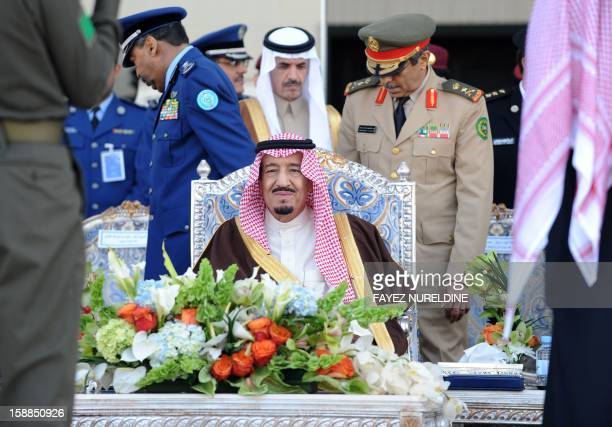 Saudi Crown Prince Deputy Premier and Minister of Defense Salman bin Abdulaziz smiles as he attend the graduation ceremony of the 83rd batch of King...