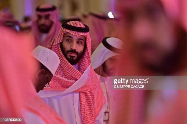 TOPSHOT Saudi Crown Prince Mohammed bin Salman arrives at the Future Investment Initiative FII conference in the Saudi capital Riyadh on October 24...