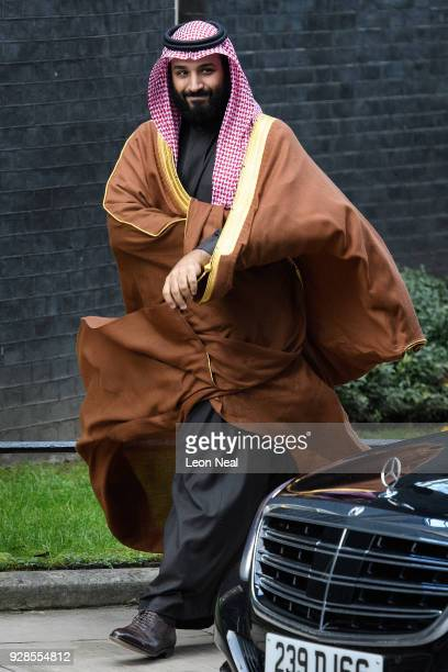 Saudi Crown Prince Mohammed bin Salman arrives for a meeting with British Prime Minister Theresa May in number 10 Downing Street on March 7 2018 in...
