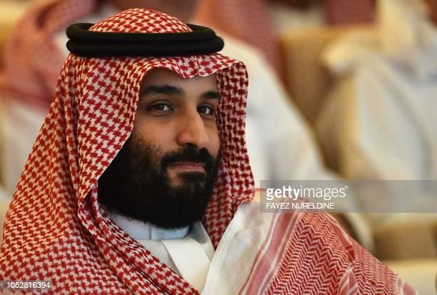 TOPSHOT Saudi Crown Prince Mohammed bin Salman attends the Future Investment Initiative conference in the Saudi capital Riyadh on October 23 2018...