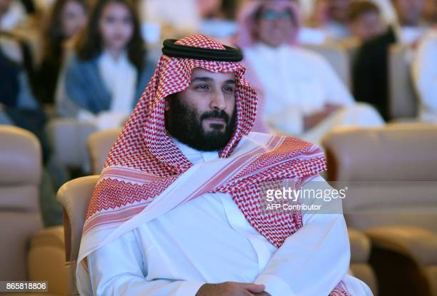 Saudi Crown Prince Mohammed bin Salman attends the Future Investment Initiative conference in Riyadh on October 24 2017 The Crown Prince pledged a...