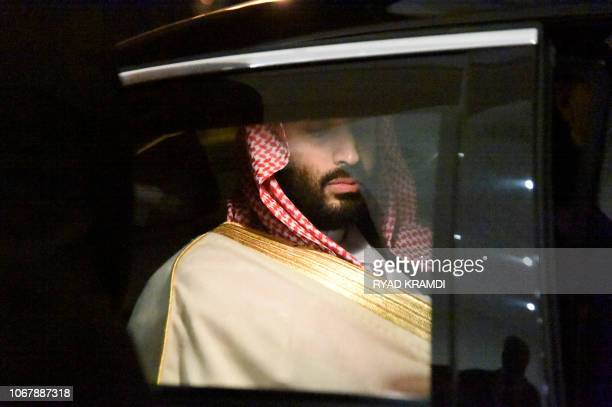 Saudi Crown Prince Mohammed bin Salman is driven to a meeting with Algerian Prime Minister upon the former's arrival at Algiers on December 2 2018