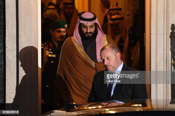Saudi Crown Prince Mohammed bin Salman leaves number 10 Downing Street after a meeting with British Prime Minister Theresa May on March 7 2018 in...