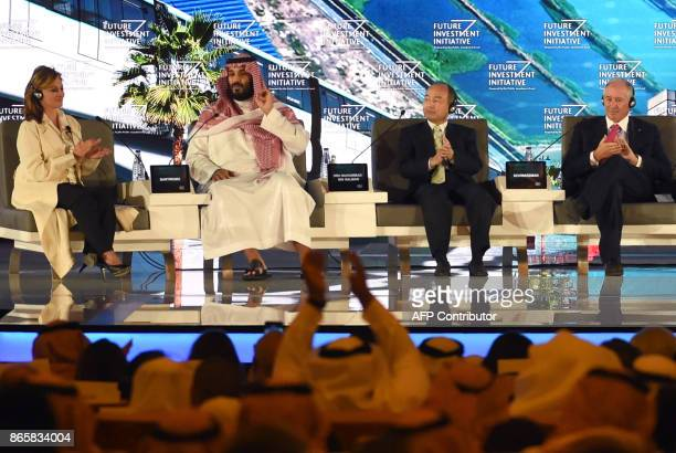 Saudi Crown Prince Mohammed bin Salman US journalist Maria Bartiromo Masayoshi Son the Chief Executive Officer of SoftBank and Stephen Shwarzman CEO...