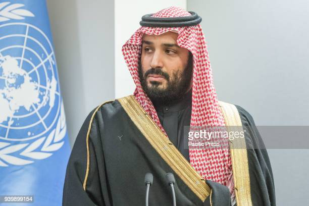 Saudi Crown Prince Mohammed offers remarks at the closing of the signing ceremony Prince Mohammed bin Salman Al Saud Crown Prince of the Kingdom of...