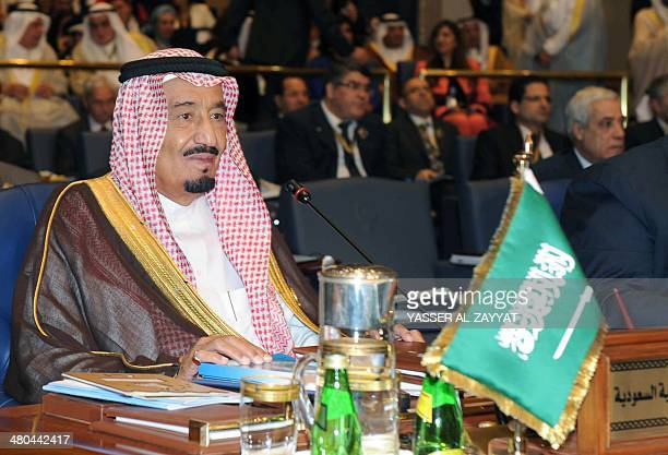 Saudi Crown Prince Salman bin Abdulaziz alSaud attends the 25th Arab League summit at Bayan palace in Kuwait City on March 25 2014 The Syrian...
