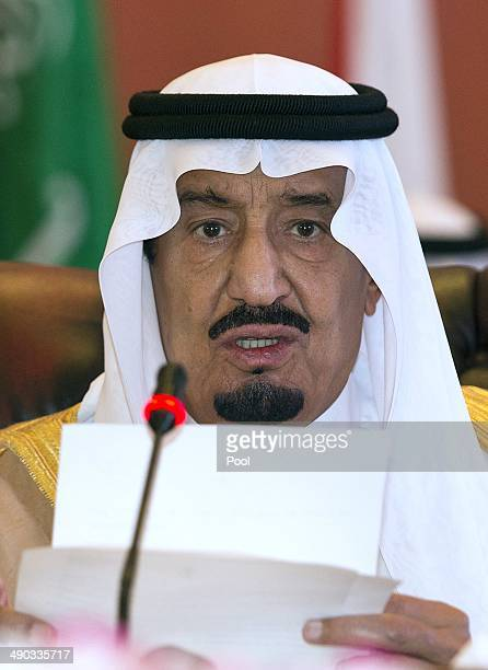 Saudi Crown Prince Salman bin Abdulaziz alSaud speaks during the opening session of the Gulf Cooperation Council on May 14 2014 in Jeddah Saudi...