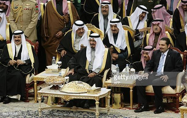 Saudi Crown Prince Sultan bin Abdul Aziz alSaud sits between Bahrain's King Hamad bin Issa alKhalifa and Lebanese Prime Minister Saad Hariri during a...