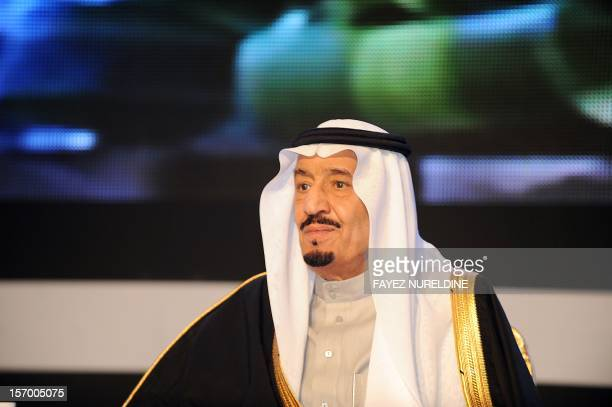 Saudi Defence Minister Prince Salman bin Abdul Aziz looks on during the King Faisal International prize awards ceremony held in Riyadh on March 6...