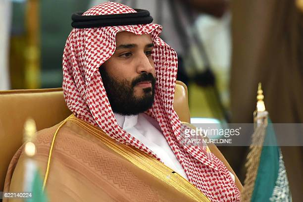 Saudi Deputy Crown Prince Defence Minister and Chairman of the Council for Economic and Development Affairs Mohammed bin Salman addresses the first...