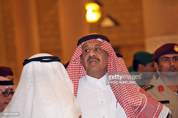 Saudi deputy Defense Minister Khalid bin Sultan attends the funeral of his father late Saudi Crown Prince Sultan bin Abdel Aziz at Imam Turki bin...