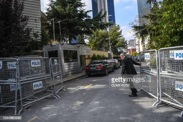 A Saudi diplomatic vehicle leaves the Saudi Arabian consulate in Istanbul on October 3 2018 Jamal Khashoggi a veteran Saudi journalist who has been...