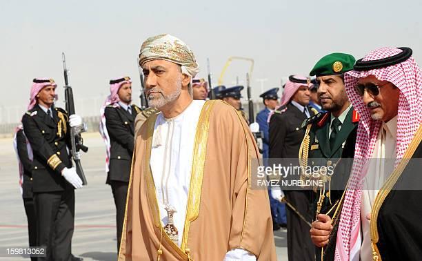 Saudi Emire Mohammed Bin Saad Bin Abdulaziz acting deputy Emir of the Riyadh region welcomes the Omani Sultan's advisor and head of his country's...