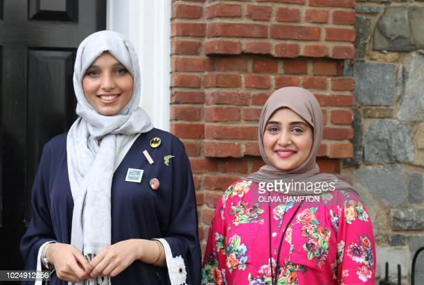 Saudi entrepreneurs Asmaa Alabdallah founder of BitGo and Reem Dad cofounder of Taibah VR stand in front of Halcyon House in Washington on August 17...