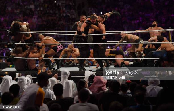 Saudi fans attend the World Wrestling Entertainment Super Showdown event in the desert kingdom's Red Sea port city of Jeddah late on January 7, 2019.