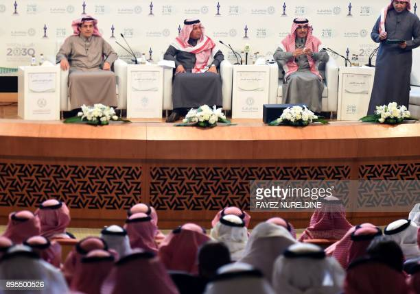 Saudi Finance Minister Mohammed alJadaan Minister of Economy and Planning Mohammed alTuwaijri and Saudi Arabian Monetary Agency Governor Ahmed al...