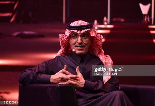 Saudi Finance Minister Mohammed al-Jadaan speaks during the fourth edition of the Future Investment Initiative conference at the capital Riyadh's...